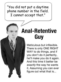 Anal retentive guy: You did not enter a daytime phone number